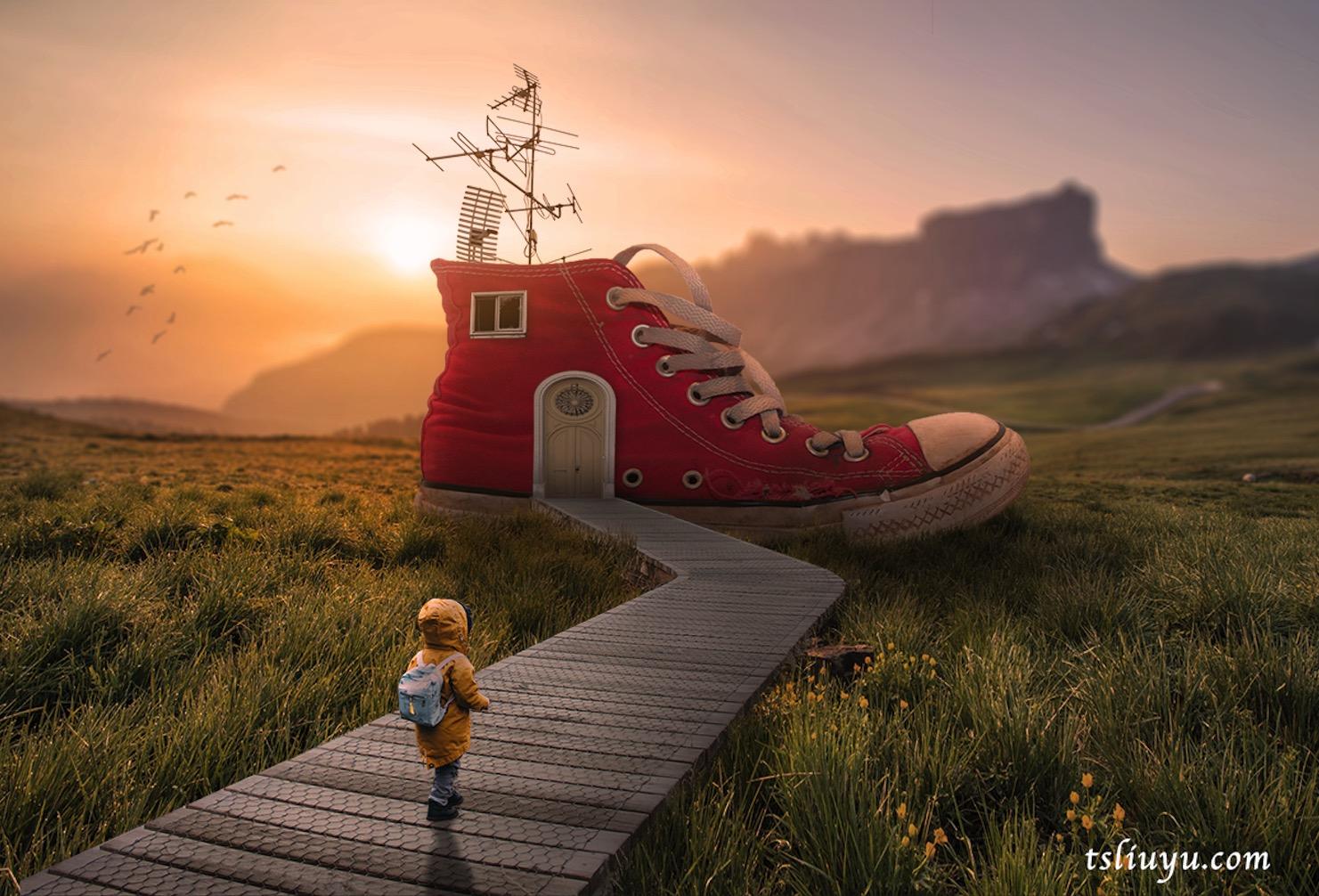 PS合成练习 模仿rafy-a图片视觉合成案例 鞋子小屋(素材&视频&PSD) 修图练习 第1张