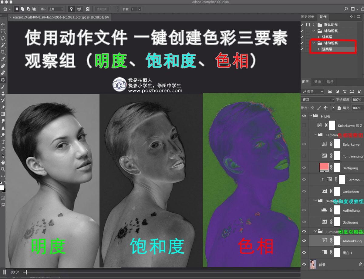 使用PS动作文件 一键创建色彩三要素观察组(明度、饱和度、色相) 修图技巧 第1张