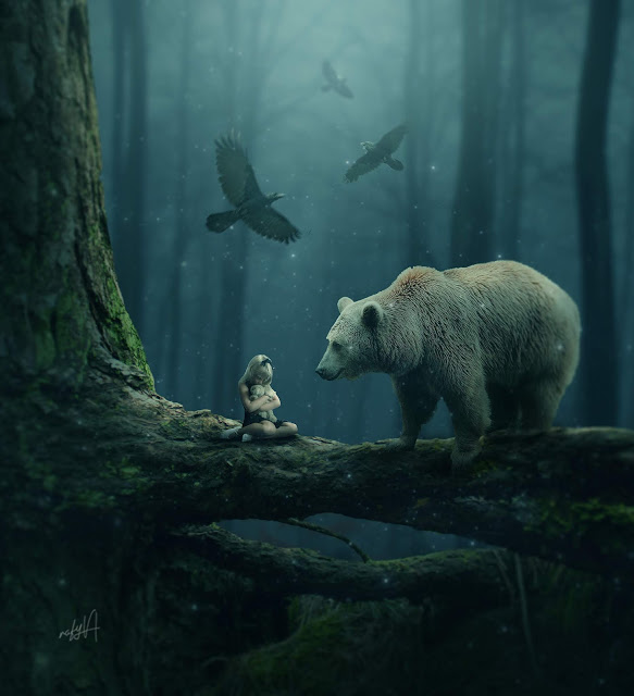 Rafy a 幻想合成视频教学 女孩和熊的照片处理 收集整理 第1张