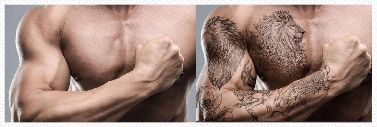 后期修图技巧 利用PS混合模式为硬汉添加纹身效果 收集整理 第1张
