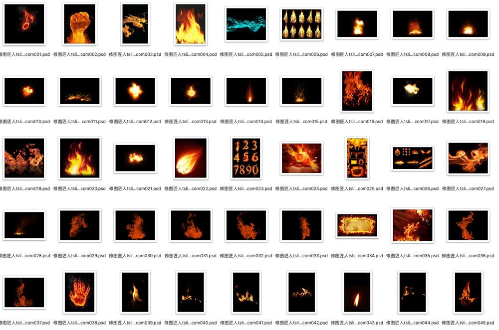 后期合成资源 火焰psd分层素材下载 PSD文件 第1张