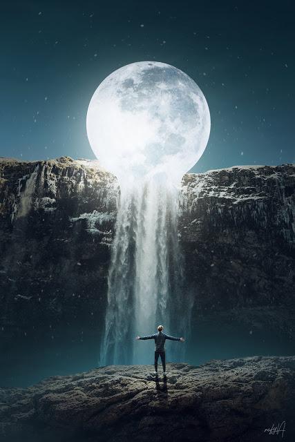 rafy a 后期合成视频教学 超现实的月亮瀑布照片 收集整理 第1张
