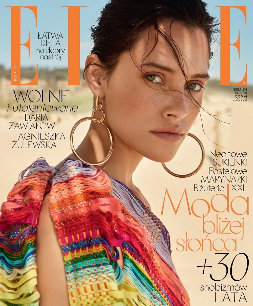 《ELLE》 杂志波兰版 8月刊时尚大片 沙滩上的一抹彩色 时尚图库 第1张