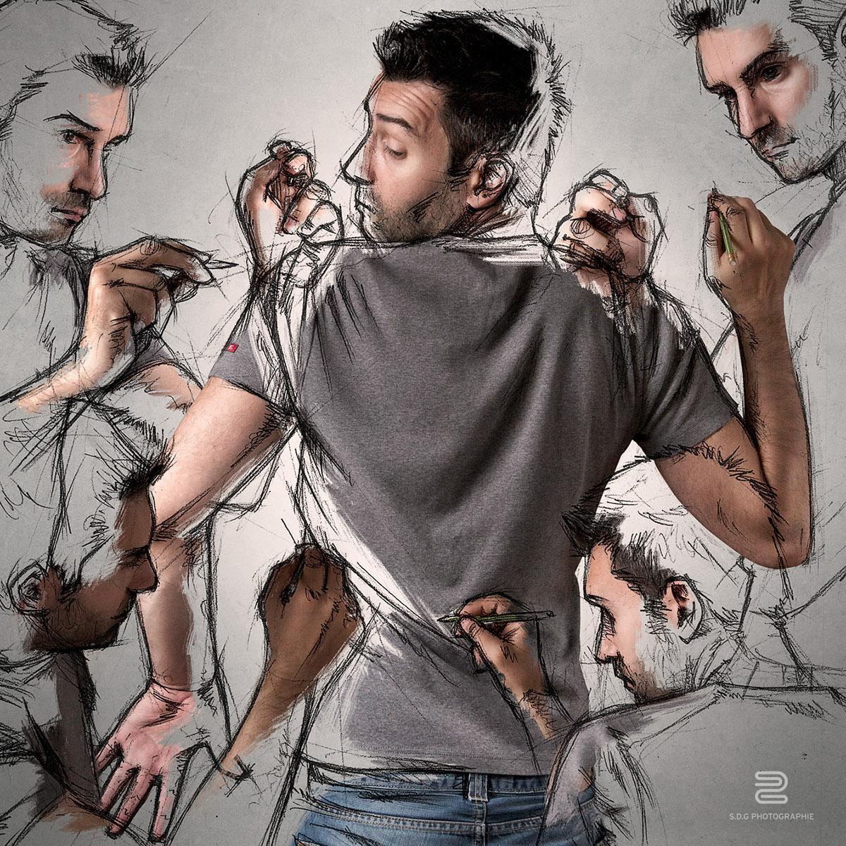 创意摄影后期 当素描与摄影碰撞后 时尚图库 第11张