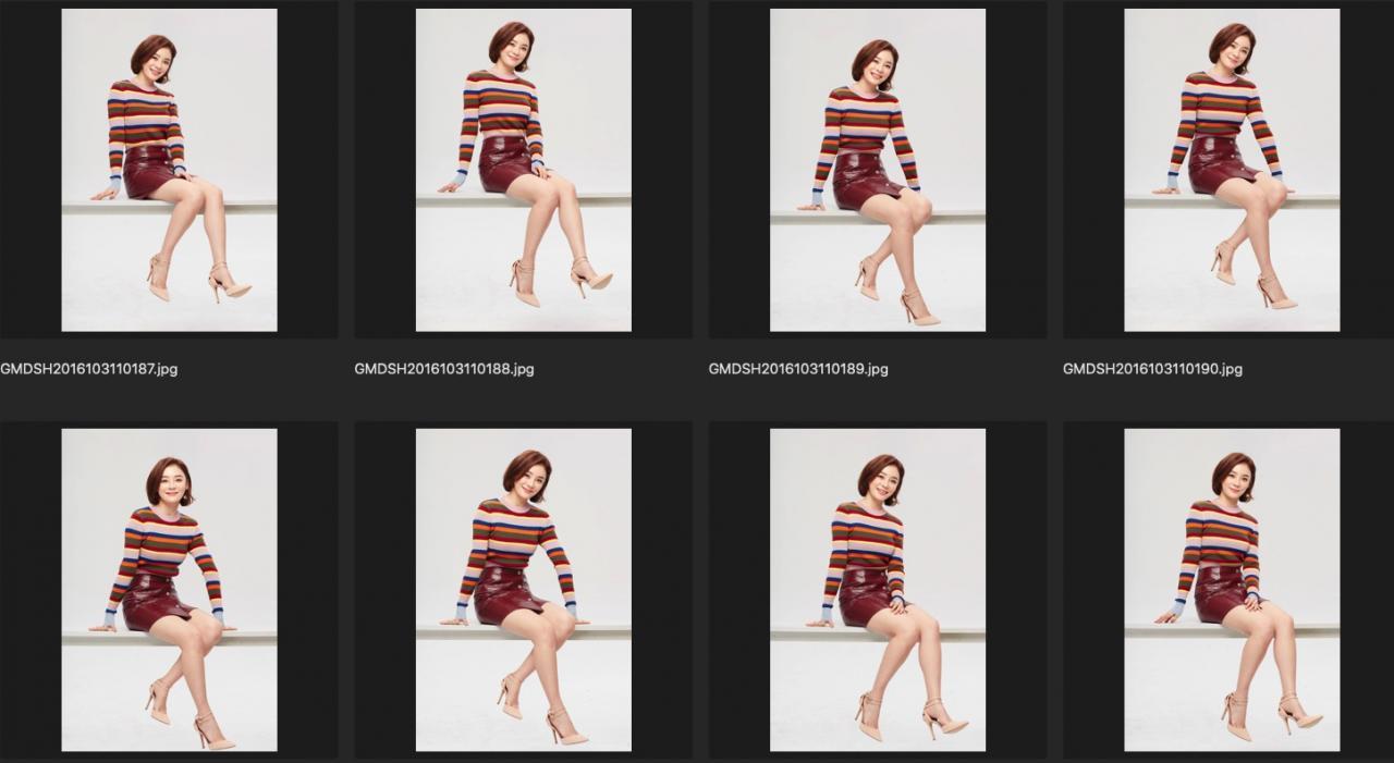 人像修图练习素材 演员袁姗姗JPG格式生图 彩色条纹上衣 收集整理 第2张