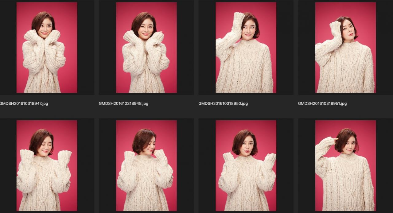 人像修图练习素材 演员袁姗姗JPG格式生图 红色背景米黄色毛衣 收集整理 第2张