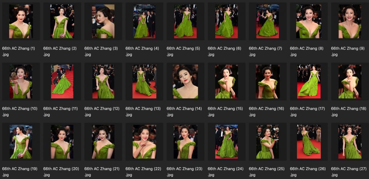 人像修图素材 明星生图 演员张雨绮真空性感绿裙JPG现场生图素材 收集整理 第2张