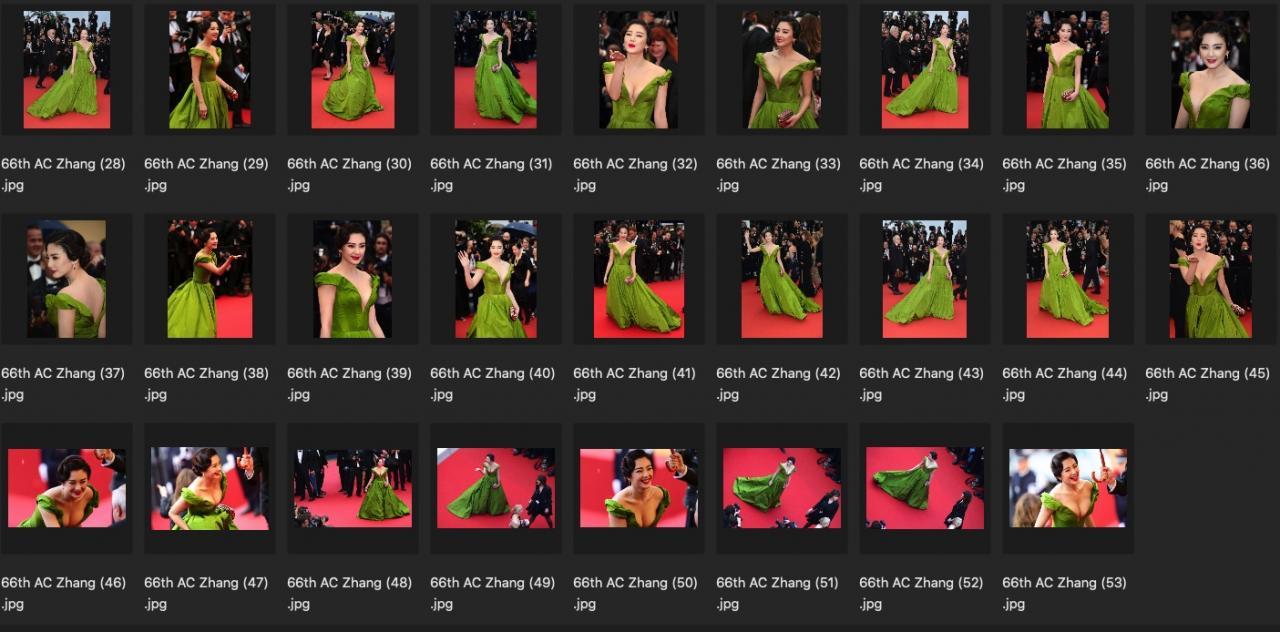 人像修图素材 明星生图 演员张雨绮真空性感绿裙JPG现场生图素材 收集整理 第3张